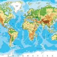 Фототапет карта на света, релефна и политическа - 10250