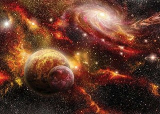Фототапет сблъсък на галактика и звезден прах - 2734